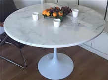 Round Dinning Tabletop, Saturio or Bianco Carrara