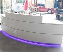 Led Light Marble White Round Office Reception Desk