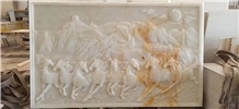 Background Wall Onyx Animal Carving Reliefs
