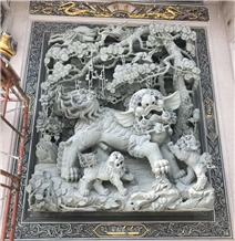 Elegantly Carved Chinese Dragon Stone Wall Relief