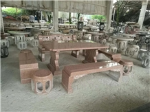 Isola Red Granite Garden Stone Table Long Bench