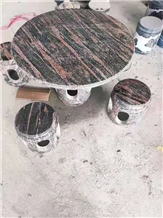 Multicolor Red Granite Garden Stone Round Table