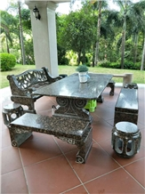 Natural Outdoor Courtyard Garden Stone Table Chair