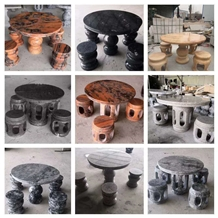 Outdoor Stone Table Courtyard Villa Round Bench