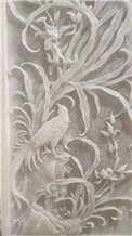 White Onyx Handcraft Carving Wall Relief Sculpture