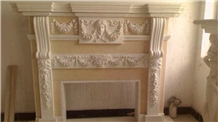 Beige Marble Stone Fireplace for Building