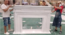 Bianco Sivec Marble Natural Stone Fireplace