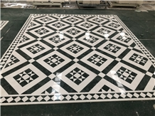 Green and White Marble Stone Floor Medallion