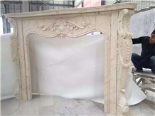 Light Beige Marble Fireplace for Villa Decoration