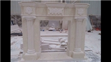 Ottoman Beige Marble Stone Fireplace