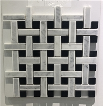 White and Black Marble Stone Mosaic for Kitchen