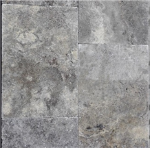 Silver Travertine Tumbled Tiles & Pattern