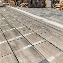 China Wooden Grey Polished Marble Tiles