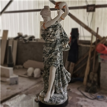 Life Size Marble Lady Carving Statue for Indoor