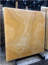 Yellow Orange Onyx Stone Slab and Tiles