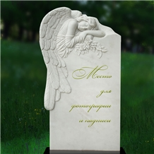 White Marble Carved Angel Tombstone Headstone