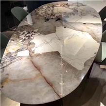 Brazil Pandora White Marble Polished Tabletops