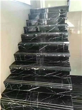 China Negro Marquina Marble Polished Stair Treads