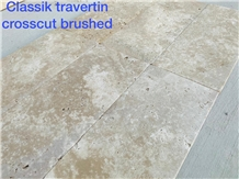 Classic Travertine Tiles Crosscut Brushed