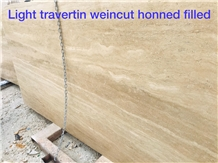 Light Travertine Slabs Veincut Honed Filled
