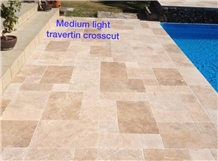 Medium Light Travertine Pattern Set Crosscut
