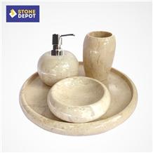 Java Beige Marble Bathroom Set Soap Dish