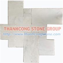 Vietnam White Vein Marble Tumbled French Pattern Tiles, Versailles Pattern