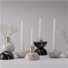 White Marble Candle Holders Home Decoravite