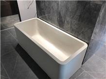 White Classic Rectangle Terrazzo Bathtubs