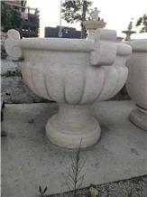 Beige Marble Garden Outdoor Pots Flower Plant Vase