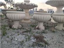 Outdoor Polished Beige Marble Garden Flower Pots