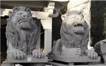 White Marble Lion Sculptures Garden Stone Statues