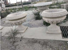 Yellow Granite Stone Carving Garden Flower Pots
