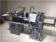 Black Terrazzo for Bathroom Countertop