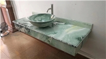 Dreaming Green Marble Vanity Top with Sink