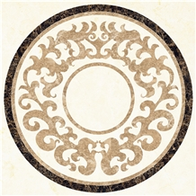 Beige Marble Based Medallion Entrance Flooring