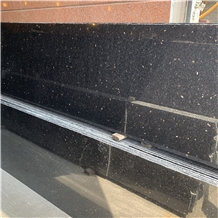 Black Galaxy Granite Slab for Kitchen Countertop