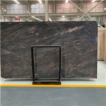 Black with Red Tropical Black Granite Slab