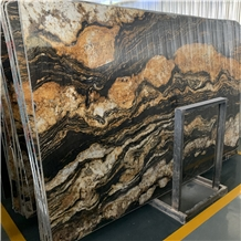 Brasil Imported Royal Gold Silk Cosmic Black Slabs