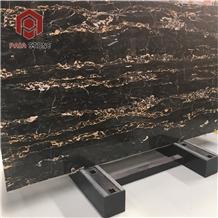 Italian Portoro Marble Black Gold Flower Tile