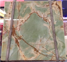 Natural Antique Green Onyx Slab for Background