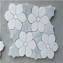 White and Blue Marble Flower Mosaic Tile
