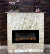 White Onyx Curved Fireplace