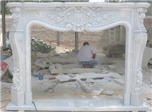 Hand Carved Pure White Marble Fireplace Surround