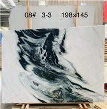 Landscape Paintings White Black Vein Marble Slab