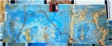 Pakistan Erzurum Sky Blue Brown Onyx Slab Tile