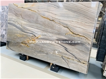 Aquamarine Blue Quartzite Gloden Kichen Top Design