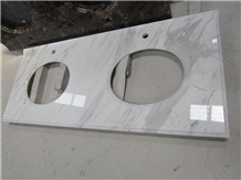 Volakas White Marble Prefab Vanity Tops with Sink