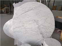 Carrara White Marble Polished Round Table Tops