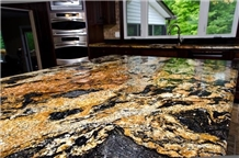 Shinny Gold Granite Island Tops